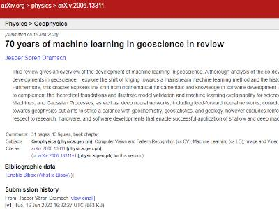 70 years of machine learning<br /> in geoscience in review